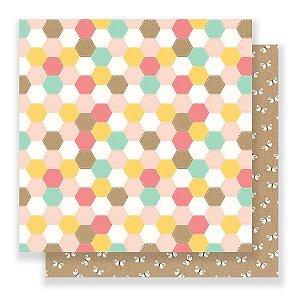 Papel Scrapbook 30x30 - Spring Fling - Patchwork - Pebbles