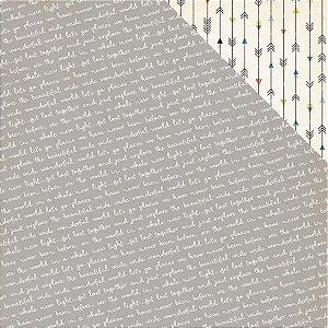 Papel Scrapbook 30x30 - Atlas - Postcard - Pink Paislee