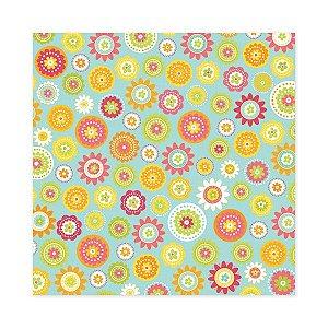 Papel Scrapbook 30x30 com glitter Hippity Hoppity - Dancing Daisies - We R