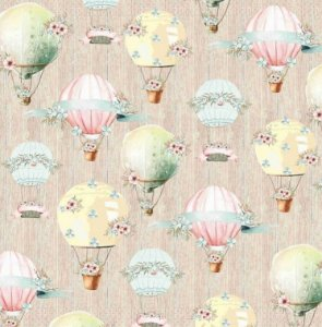 Papel de scrapbook Viagem de balão - Linha Felicidade -Dany Peres