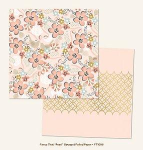 Papel de Scrapbook 30,5x30,5 cm - Pearl Bouquet Gold Foiled- My Minds Eye