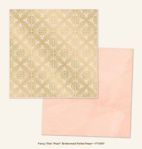 Papel de Scrapbook 30,5x30,5 cm - Pearl Bridesmaid Gold Foiled  - My Minds Eye