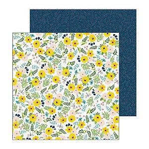Papel Scrapbook - 30x30 - Patio Party - Backyard Blooms - Pebbles
