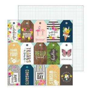 Papel Scrapbook - 30x30 - Patio Party - Just For You - Pebbles