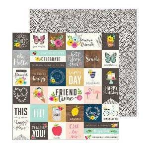 Papel Scrapbook - 30x30 -  Patio Party - From me to you - Pebbles