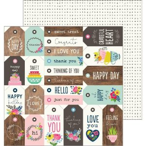 Papel Scrapbook - 30x30 - My Bright Life  - Tag Your It  - Pebbles