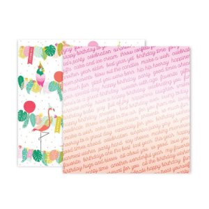 Papel Scrapbook - 30x30 - Confetti Wishes Paper 12 - Pink Paislee