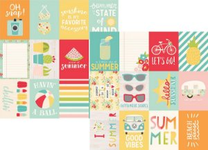 Papel Scrapbook - 30x30 - 3x4 Journaling Card Elements - Summer Days -  Verão - Simple Stories