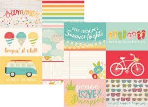 Papel Scrapbook - 30x30 - 4x6 Horizontal Elements - Summer Days -  Verão - Simple Stories