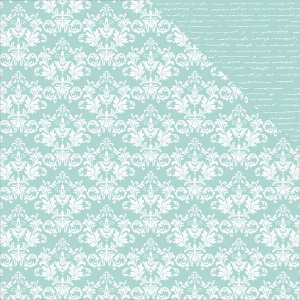 Papel Scrapbook - 30x30 - Seabreeze Damask - Kaiser Crafts