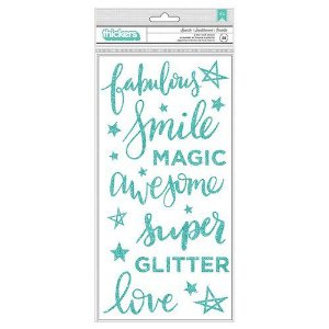 Adesivos Thickers - com glitter - Sparkle - Phrases - Foam - Teal Glitter - American Crafts
