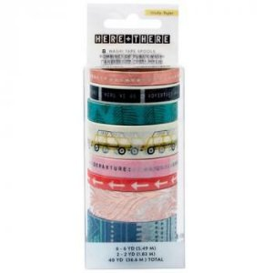 Kit de Fitas adesivas decorativa (Washi tape) - Here & There - Crate Paper