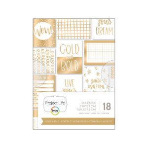 Cards Gold & Bold - Foil dourado - Project Life - American Crafts