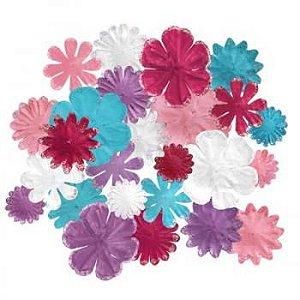 Flores de papel - 25 peças - Fancy Blossons Girly-  Imaginisce