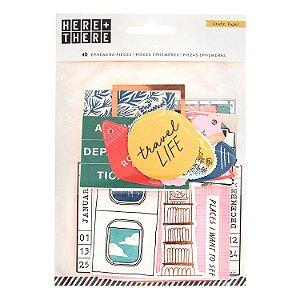Kit de die cuts Ephemera Pack - Here & There- Crate Paper (detalhes em foil)