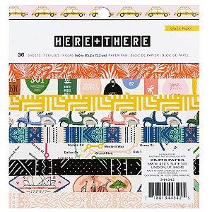 Bloco de papel scrapbook Here + There - Viagem - Crate Paper