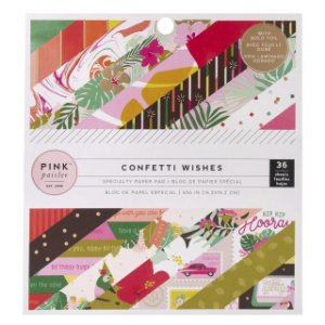 Bloco papel scrapbook 15x15 Confetti Wishes - Pink Paislee