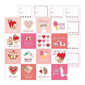 Papel scrapbook 30x30 Loves me - Be Mine - Amor - Pebbles