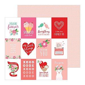Papel scrapbook 30x30 Loves me - Quotes - Amor - Pebbles