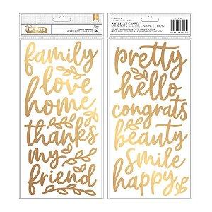 Adesivos thickers com foil dourado - Along the way - Palavras- Pebbles