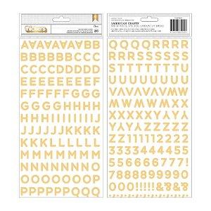 Adesivos alfabeto thickers com foil dourado - Along the way - Palavras- Pebbles