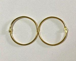 Kit 2 argolas articulada metal douradas - 50mm diâmetro - Importado