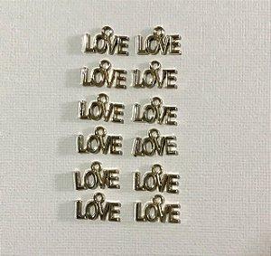 Kit com 12 pingentes de Metal dourados Love - Amor - Art & Montagem