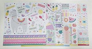 Kit de 06 papéis dupla face - Coleção Um Mundo de Encantos - Lu Ruzzi
