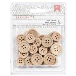 Botões de madeira - 24 peças - American Crafts