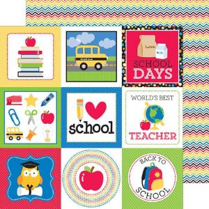 Papel Scrapbook - 30x30,5 - Doodlebug - Back to School - Brainstorm
