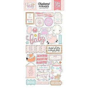 Chipboard Hello Baby Girl - Bebê Menina - Echo Park