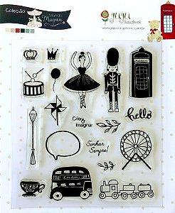 Cartela de carimbo Sonhar Sempre - Coleção Mundo Mágico - Juju Scrapbook