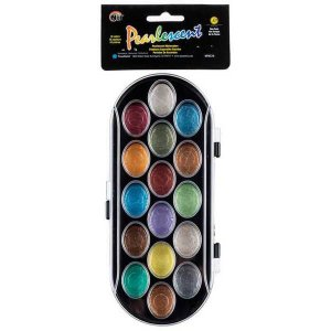 Kit de aquarelas com 16 cores perolado - Niji
