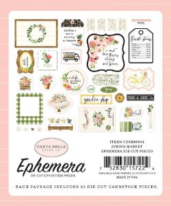 Die Cuts com 33 peças - Spring Market - Carta Bella
