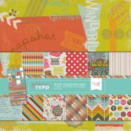 Kit de papeis 30x30 e adesivo - Gone Typo - Hazel Ruby
