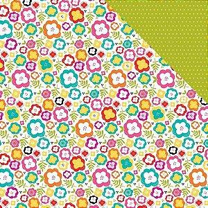 Papel para scrapbook 30x30 - Garden - Bright and Brave - Illustrates Faith
