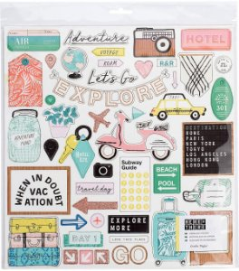 Chipboard adesivado 30x30 - Here + There - Crate Paper