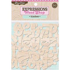 Alfabeto em MDF - Expressions Wood Shop - Timber -  50 peças - Pinkpaislee