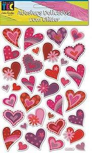Adesivos Delicados com Glitter - Corações - TEC