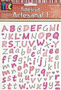 Adesivo Artesanal 1 - Alfabeto Minúsculo com Glitter - TEC