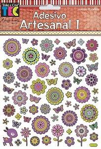 Adesivo Artesanal 1 - Flores Estilizadas - TEC