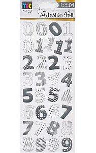 Adesivos Foil prateado Números - Toke e Crie