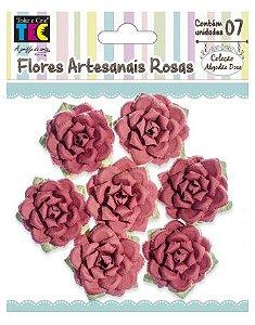 Flores artesanais Rosas - Algodão Doce - Vermelho  - Toke e Crie