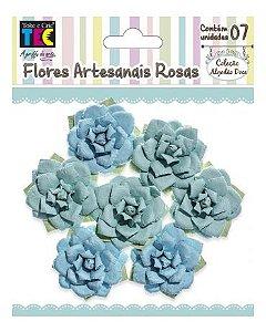 Flores artesanais Rosas - Algodão Doce - Azul  - Toke e Crie