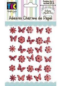 Adesivo Charme de Papel - Algodão Doce - Vermelho  - Toke e Crie