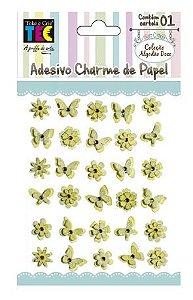 Adesivo Charme de Papel - Algodão Doce - Amarelo  - Toke e Crie