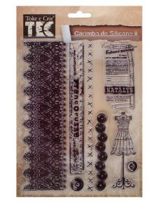 Cartela de Carimbos de silicone II - Coleção Vintage - Renda e Costura