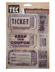 Cartela de Carimbos de silicone II - Coleção Vintage - Tags- Toke e Crie