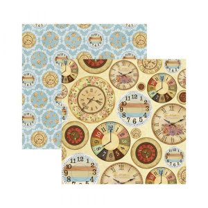 Papel para scrapbook - 30x30 - Dupla Face - Relógios Antigos - Diversos - TEC