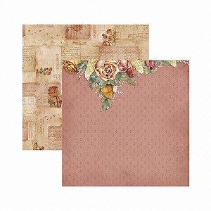 Papel para scrapbook - 30x30 - Dupla Face - Toque de Romance - Floral - TEC